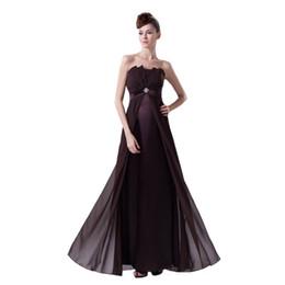 Estilo imperio vestidos largos online-El último vestido elegante de las señoras de la tarde del vestido largo gasa imperio estilo Straight Design Zip Back vestido de la marca