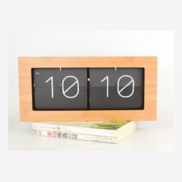 Wholesale Modern Wood Alarm Clock - Wholesale-Bamboo bell automatically flip clock table clock creative living room wall clock retro minimalist modern wood clocks