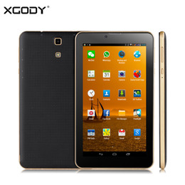 Wholesale Gsm Phone Cases - Wholesale- XGODY V701 7 inch 3G Tablet PC Phone Call Android 4.4 MT6572 Dual Core 1.3Ghz 512MB RAM 4GB ROM GPS WCDMA GSM with Leather Case