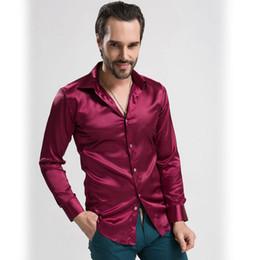 Wholesale Shiny Silk Shirts Men - Wholesale- High-grade Emulation Silk Long Sleeve Shirt Men Casual Shirt Shiny Satin Plus Size 4XL 3XL Lightweight Performance Shirt for Men