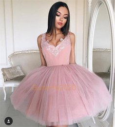 Wholesale Girls Pink Puffy Dresses - Blush Pink Short Homecoming Dresses V Neck Cheap Puffy Ball Gown Prom Dress Tulle Girls Cocktail Party Gowns