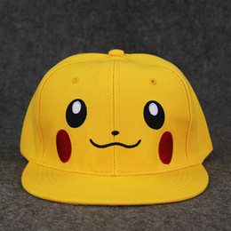 Wholesale Soft Pikachu Hat - Anime Poke Cute Pikachu Cap Hat Plush Soft Cap Doll Toy for kids gift free shipping retail