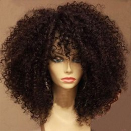 Wholesale Curly Lace Wigs Bangs - Afro Kinky Curly Lace Front Human Hair Wigs With Bangs Virgin Brazilian Full Lace Human Hair Wig Curly For Black Women Grade 7A