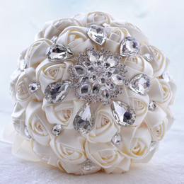 Wholesale Colorful Bridal Bouquets - 2017 Colorful Bridal Bouquet Crystal Brooch Artificial Satin Flowers Beading Crystal Bridesmaids Wedding Bouquets Brides Bouquets