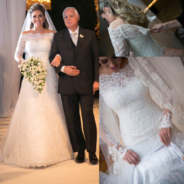 Wholesale Modest Wedding Dresses China - White off-shoulder long sleeves A-line full lace dress modest Applique wedding dresses from china 12y 2017 special occasion wedding dresses