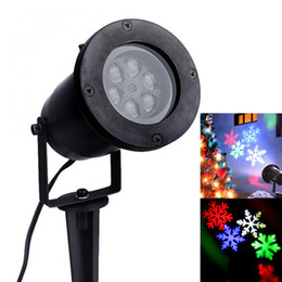 Wholesale Snowflake Christmas Tree Lights - Wholesale- RGB Outdoor Waterproof Garden Tree Moving Snow Laser Projector Snowflake LED Stage Christmas Lights New Arrival