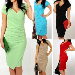 Wholesale Women S Casual Wear Wholesale - 5 Colors for Women Summer V-neck Pleated Asymmetrical Office Dresses Casual Short Sleeve Work Pencil Dress