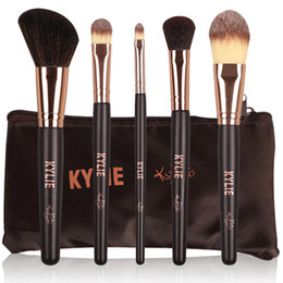 Wholesale Plastic Makeup Bags - 5pcs lot Prfessional Makeup Brush Set with Bag Kylie Jenner Holiday Edition Limited Edition Brush Synthetic Hair Eyeshadow Tools Free DHL