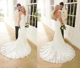 Wholesale Empire Waist Trumpet - 2017 Beach Mermaid Wedding Dresses Sexy V-Neck Backless Satin Lace Embroidery Empire Waist Sweep Train Wedding Dresses Bridal Gowns