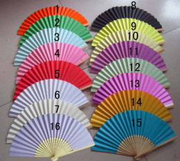 Wholesale Airline Lights - Wedding Favors Gift Single Side Paper Folding Fan, Bride Hand Craft Fan with bamboo ribs Candy Color Drawing Fan+DHL Free Shipping