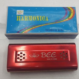 Wholesale Harmonica 16 - Wholesale- BEE 16 Bores Tremolo Colorful Both Sides Harmonica C&G Key Double Holes Mouth Organ Wind Musical Instruments Kids Beginner Adult