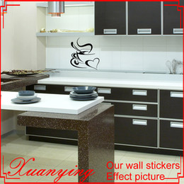 Wholesale coffee wall art stickers - Coffee Cup Heart Sticker Kitchen Wall Decal Sticker Art Deco