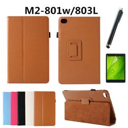 Wholesale 8inch Tablet Covers - Wholesale-8inch New fashion Litchi Leather Stand protective cover case for Huawei M2 8.0 case for Huawei M2-801W M2-803L Tablet pc