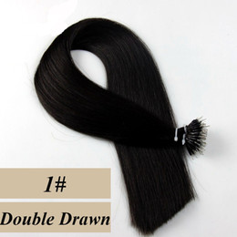 Wholesale Double Drawn Straight Remy Hair - Nano Ring Human Hair Extensions 1g pc 100g set Straight Brazilian Remy Hair Double Drawn #1 #1B #2 #4 #6 available Free Shipping