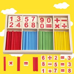 Wholesale Toys Wood Building Sticks - Wholesale- Figure Blocks Counting Sticks Education Wooden Toys Building Intelligence Block Montessori Mathematical Wooden Box Children Gift