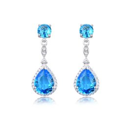 Wholesale Gold Plated Topaz Earrings - 2017 New Fashion Jewelry 925 Sterling Silver Lab Swiss blue Topaz Teardrop Bridal Dangle Earrings Hight Quqlity For Weddings Proms pageants