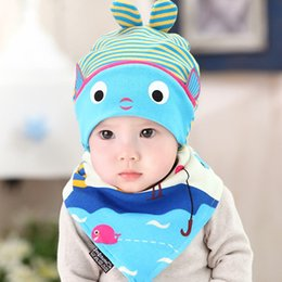 Wholesale Cheap Baby Beanies - 2017 newborn baby creative fashion travel cotton hat children girl boy small fish hat cap baby sleep accessories cheap sales