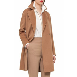Wholesale Camel Coat Xl - Camel in stock UK 2017 Fall Winter Women Notched lapel Single Button Simple Long Coat ZA style Career Overcoat manteau femme casaco feminino
