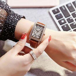 Wholesale Gems Rhinestones - High quality Ladies AAA Watch Famous Brand Luxury Women watches Modern Rhinestone Rectangle Dial Leather Strap Quartz wristwatch For girls