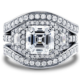 Wholesale Cut Siding - Fine Size 5-11 Jewelry Pave Setting Princess Cut 14kt white gold filled GF Simulated Diamond Topaz 3 IN 1 Women Wedding Engagement Ring set
