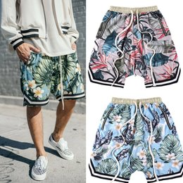 Wholesale Men Stretch Short - Justin Bieber FOG fear of god Collection 3D Plants Floral shorts Running Breathable short stretch sweat jogger shorts casual beach pants