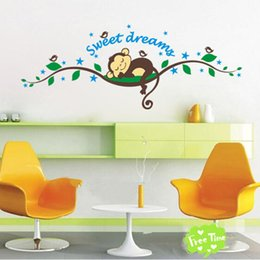 Wholesale Sweet Dreams Wall Decal - Sweet Dreaming Sleeping monkey on the trees wall stickers for kids rooms 1203 wall decal Mural Kids Nursery Bedroom Decoration 0706011