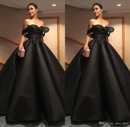 Wholesale Winter Robe Sexy - Elegant Robe De Soiree Black Prom Dresses 2017 Long Party Dresses Ball Gowns Off The Shoulder Ruffles Pageant Party Dresses With Beaded