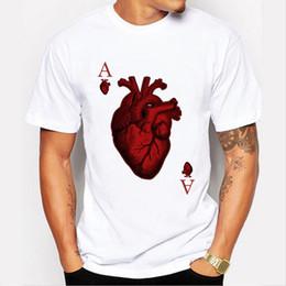 Wholesale Poker T Shirts - new arrivals 2017 men's fashion designer heart poker t-shirt Harajuku funny tee shirts Hipster O-neck cool tops