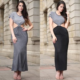 Wholesale Short Midriff Dresses - New Fashion Women Sexy Slim Midriff Gown A-Line Women Dress Big Size Sexy Stripe Stitching Party Clothing