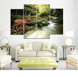Wholesale rivers life - Sika Deer At The Edge of Qinghe River Frameless Paintings