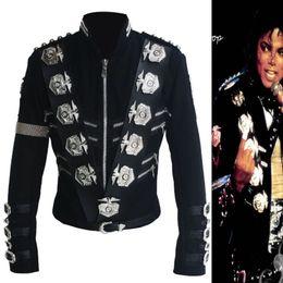 Wholesale Mj Clothing - Wholesale- Rare MJ Michael Jackson BAD Black Classic Jacket With Silver Eagle Badges Punk Metal Fashion Badge woolen Clothing Show Gift