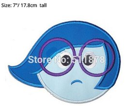 "Wholesale Iron Out - 7"" Sad Inside Out Girl Dress Applique Film Movie TV Series Costume LARGE Felt Embroidered iron on patch TRANSFER MOTIF"