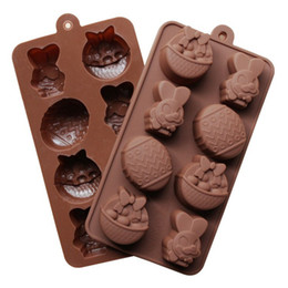 Wholesale Silicone Tray Soap Molds - Easter Chocolate Mould DIY Baking Molds Cup Silicone Rubber Bakeware Tools Soap Mold Cake Dessert Candy Ice Tray Children Toys Gifts