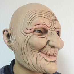 Wholesale Funny Props - Halloween Funny Smiling Old Man Latex Mask Realistic Old People Full Face Rubber Masks Masquerade Cosplay Props Adults Size