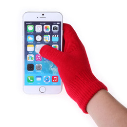 Wholesale Gloves For Mobile - New 12Colors Winter Knit Gloves Conductive Capacitive Touch Screen Gloves for iPhone iPad Mini Samsung Edge Galaxy Mobile Phone Gloves