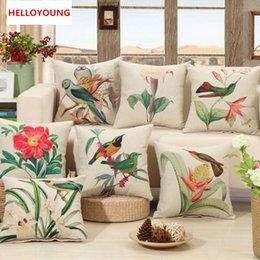 2019 cojines de impresión de aves Cojín caliente de lujo ventas funda de almohada de casos de países Aves Imprimir asiento Cojines diseño de la flor de lino de algodón del coche del sofá cojines de impresión de aves baratos