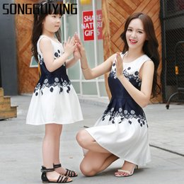 Wholesale Mommy Daughter Clothing - SONGGUIYING A56 Matching Mother Daughter Clothes Fashion Family Outfits Mom Girl Dress Mommy Summer Fashion Floral Print Dresses