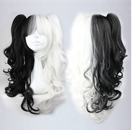 Wholesale Miku Hatsune Wig Curly - Hatsune Miku Cosplay Synthetic Long Afro Kinky Curly Black and White Wig Heat Resistant Anime Wig Haircut Long Hair 26in peruca Cosplay Wigs
