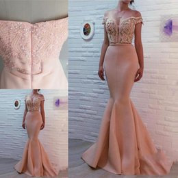 Wholesale hot pink sweetheart prom dress - Hot Sweetheart Neck Mermaid Prom Dresses Zipper Back Crystal Beaded Satin Sweep Train Evening Dresses Gowns Party Dresses Robe De Bal