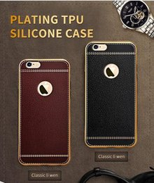 Wholesale Iphone Imitation - Imitation leather TPU Soft Phone Cases For iPhone 5 5S 6 6S 7 7S Plus Men case Protect Covers with OPP Package