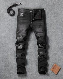 Wholesale Hot Sell Men Jeans - Hot Sell 2017 New Style Men's Skinny Denim Jean Embroidery Skull Print Pants Jeans Zipper Slim Trousers 99333640