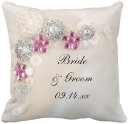 "Wholesale Diamond Cushion Covers - Throw Pillow Case White Pearl and Pink Diamond Buttons Wedding Squar Sofa and Car Cushions Cover, ""16inch 18inch 20inch"", Pack of X"