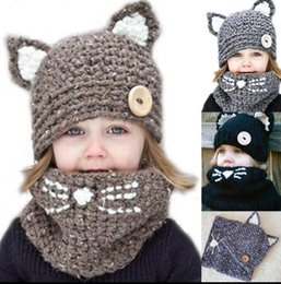 Wholesale Kids Knit Cat Beanie - Kids Knitted Cat Scarf Caps set Infant Warm Knitted Hats warmer Winter Beanie Hat Scarf Cap Kids KKA3456