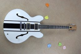 Wholesale Double Pickups - Factory Customized White Semi-hollow Electric Guitar with Double F Holes,2 open Pickups,Can be changed