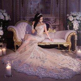 Wholesale See Through Top Wedding Dresses - Luxury Crystals Beaded Wedding Dresses 2017 Top Quality High Neck Illusion Long Sleeves See Through Mermaid Bridal Gowns Custom Made Vestido