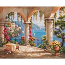 Canada Peintures à la main de Sung Kim Paysages italiens Terrasse Arche art modernes paysages marins huile sur toile pour la décoration de salon cheap italian paintings Offre