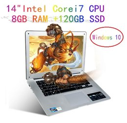 Wholesale 8gb Ram Laptop Computers - A8 Plus Intel Core i7 CPU 14inch 8GB RAM+120GB SSD 1920x1080P FHD Windows 10 Fast Run Ultrathin Laptop Notebook Computer