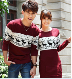Wholesale Sweaters For Lovers - Wholesale-Quality christmas sweater for men and women couples matching christmas sweaters for lovers couple Christmas Deer sweaters