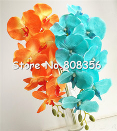 Wholesale Wholesale Fake Flower Stems - Fake Orange Color Moth Orchids Long Stem Phalaenopsis Orchid Orchid 8 heads Piece for Wedding Decorative Artificial Flowers