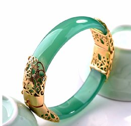 Wholesale Chinese Gold Plated Bangles - Chinese A Grade Natural Green Red Agate 24K Gold Plated Hollow Women's Bangle
